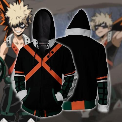 My Hero Academia Pullover Hoodie Men Women Bakugou Katsuki 3D Printed Cosplay Costume Sweatshirt Zipper Jacket