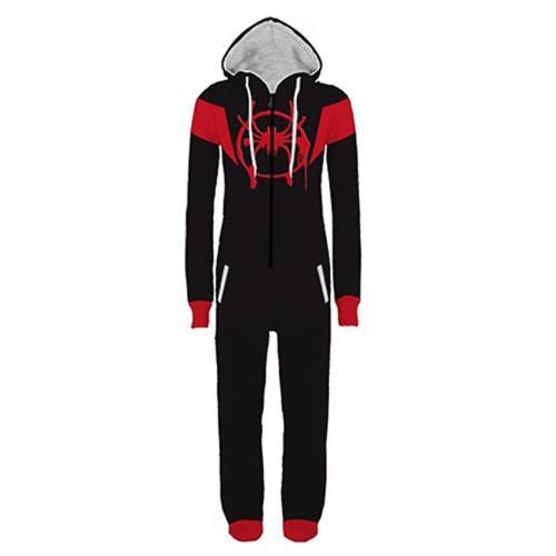 Halloween Into The Spider-Verse Miles Morales Pajamas Cartoon Onesie Hooded Pajamas Cosplay Costume