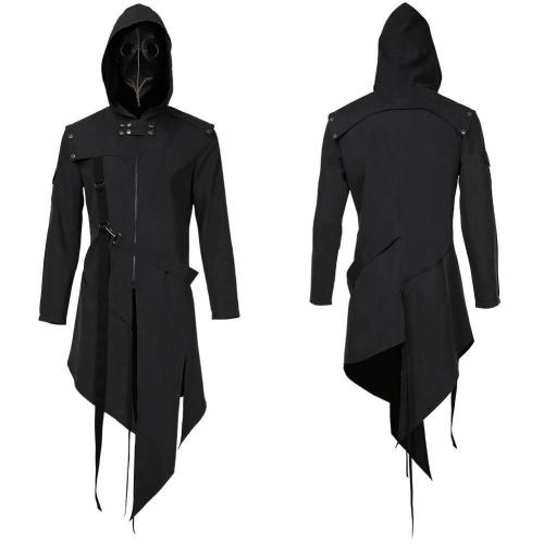 Plague Doctor Men Steampunk Gothic Hooded Jacket Coats Halloween Carnival Suit Cosplay Costume