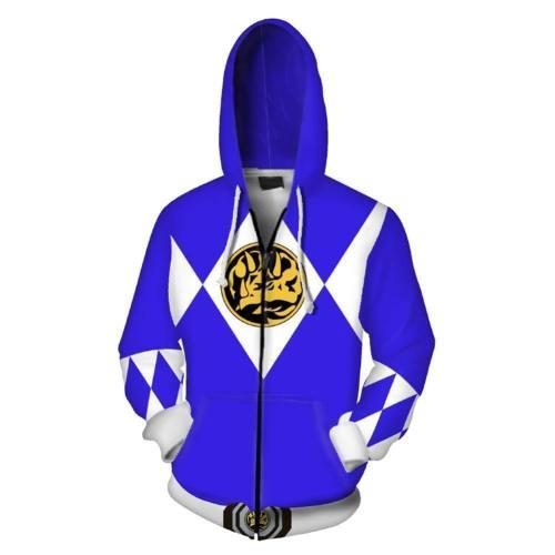 Unisex Blue Ranger Hoodies Power Rangers Zip Up 3D Print Jacket Sweatshirt