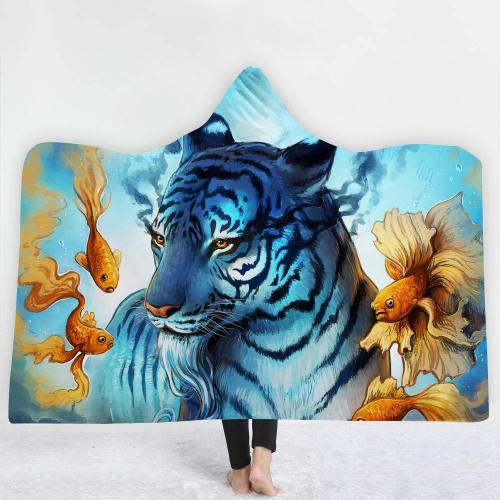 Courageous Blue Tiger Hooded Blanket