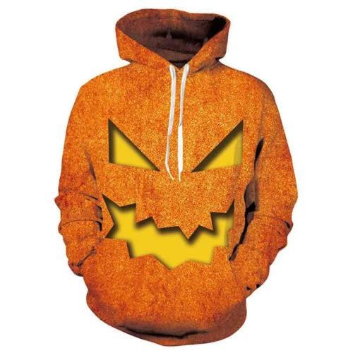 Mens Hoodies 3D Printed Pumpkin Ghost Halloween Pattern Printing Hoodies
