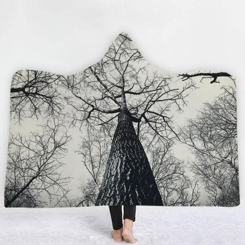 Haunted Black And White Tree Hooded Blanket