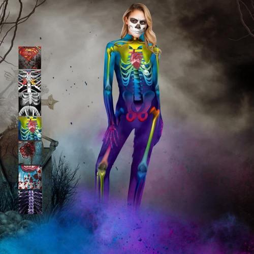 Halloween Party Skull Jumpsuit Zombie Costume For Women Man