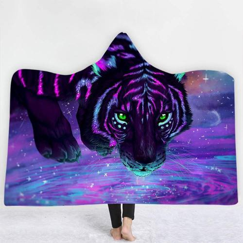 Neon Colorful Art Tiger Hooded Blanket