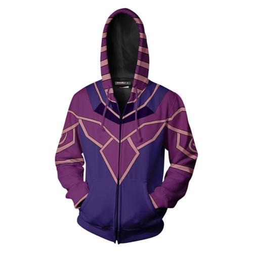 Unisex Dark Magician Hoodies Yu-Gi-Oh! Zip Up 3D Print Jacket Sweatshirt