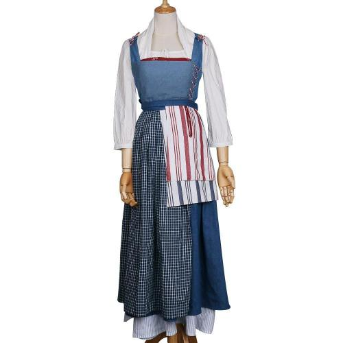 Beauty And The Beast Princess Belle Blue Maid Dress Emma Watson Cosplay Costume Clearance Sale