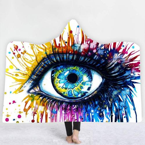 Limited Design: An Eye And A Splash Of Color Hooded Blanket