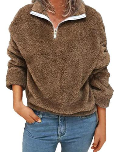 Plus Size Womens Fluffy 1/4 Zip Sweatshirt