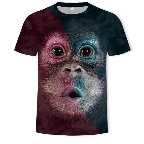 Mens T Shirt 3D Printing Cute Monkey Face Printed Tee