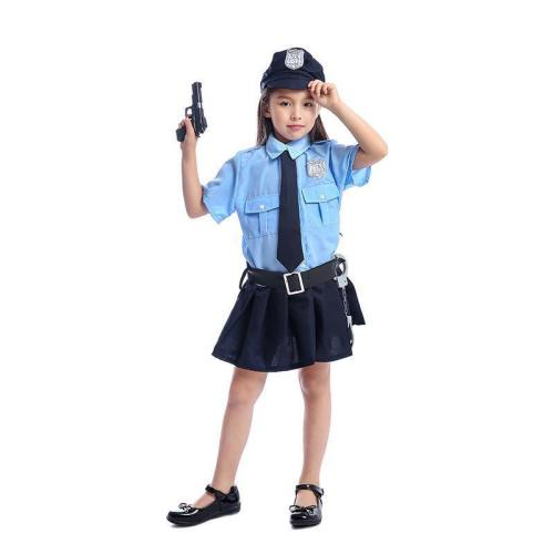 Girls Tiny Cop Police Officer Playtime Cosplay Uniform Kids Coolest Halloween Costume