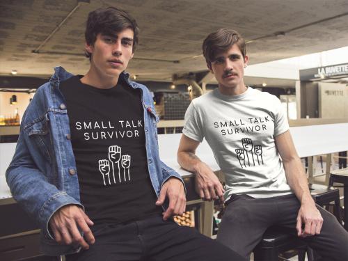 Small Talk Survivor  Short-Sleeve Unisex T-Shirt (Black/Navy)