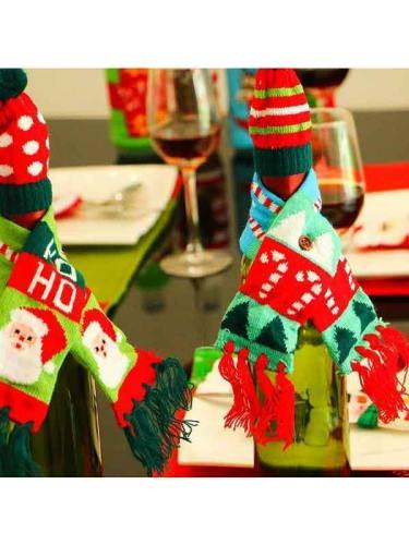 Christmas Wine Bottle Cover Knitted Sweater Xmas Decoration