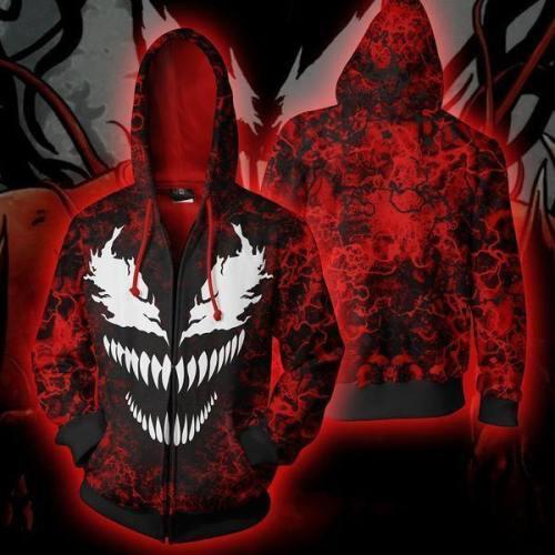 Venom Spiderman Evil Sweatshirt Cosplay Men And Women Costume Anime 3D Printed Sweatshirt Zipper Cartoon Hooded Sweater Jackets