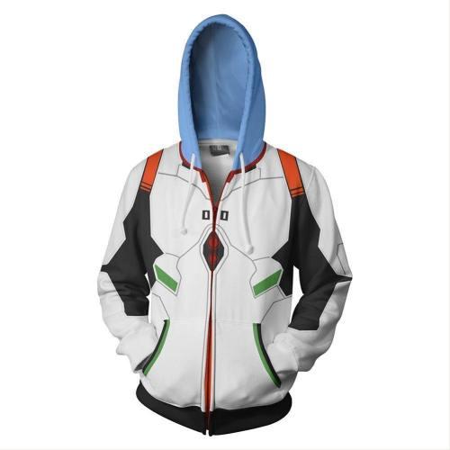 Unisex Ayanami Rei Hoodies Eva Zip Up 3D Print Jacket Sweatshirt
