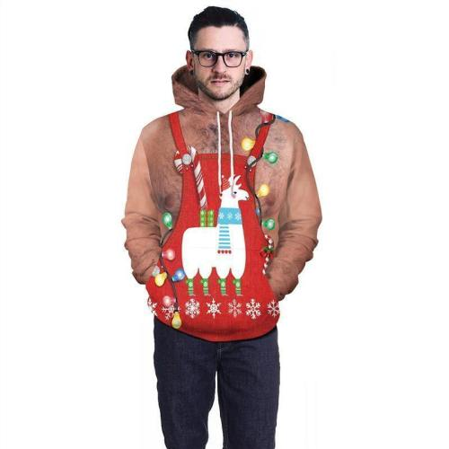 Mens Hoodies 3D Graphic Printed Merry Christmas Ugly Chest Pullover