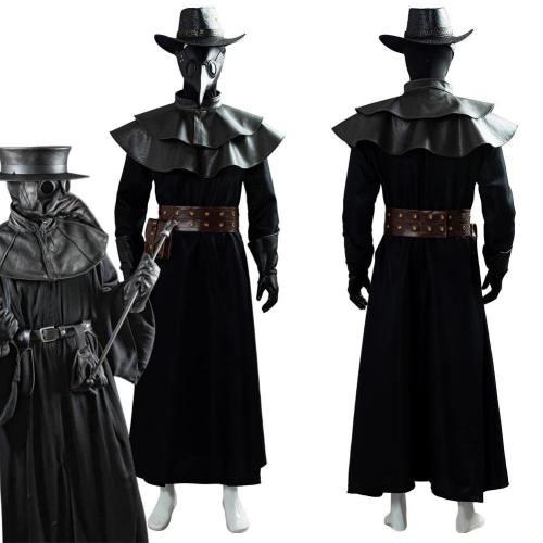 Plague Doctor Steampunk Bird Mask Cape Long Grown Hat Set Holloween Costume Cosplay Costume