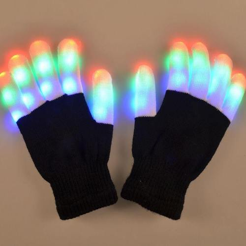 Winter Novelty Party Glow Party Supplies Glowing Gloves Led Rave Flashing Glove Glow 7 Mode Light Up Finger Tip Lighting Black
