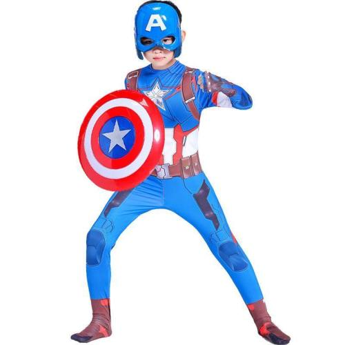 Captain America Child Boy Cosplay Halloween Costume Jumpsuit For Kids