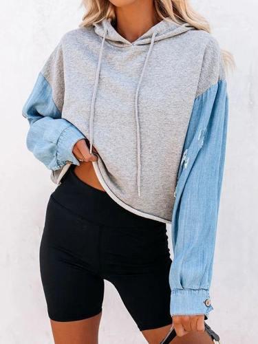 Womens Denim Sleeve Color Block Oversized Hoodie