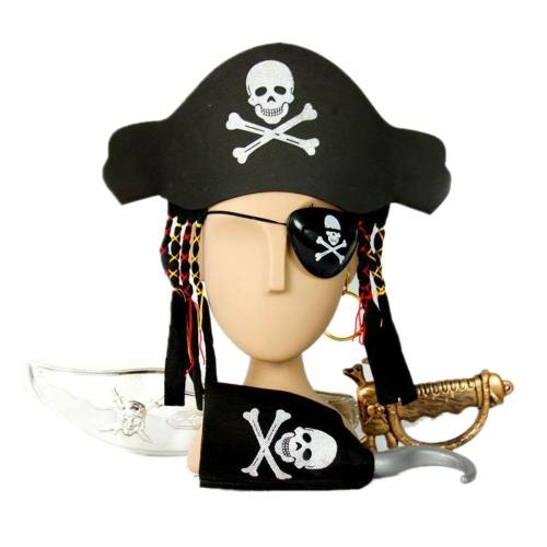 1Set Halloween Kids Captain Pirate Set With Hat & Hair Hook Sword Eye Patch Earring