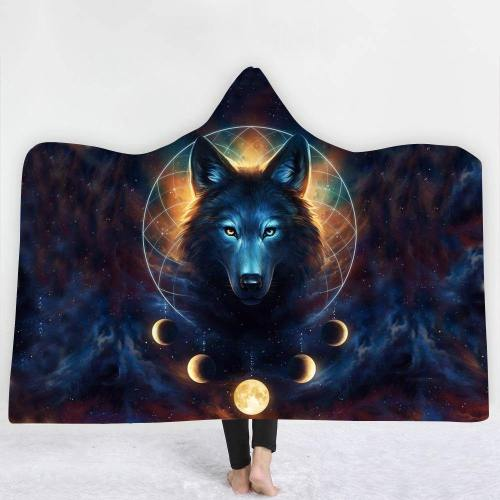 Limited Design: Dreams And Moons Wolf Hooded Blanket