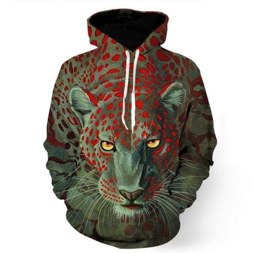 Brave Leopard In Green Sweatshirt/Hoodie