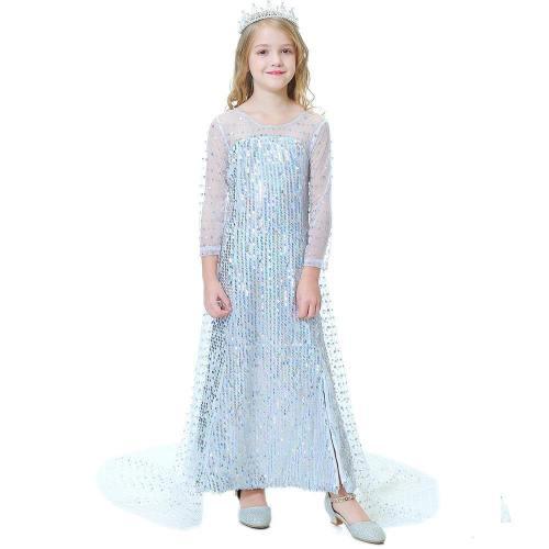 Frozen 2 Princess Elsa White Sequin Long Tail Fancy Dress Costumes