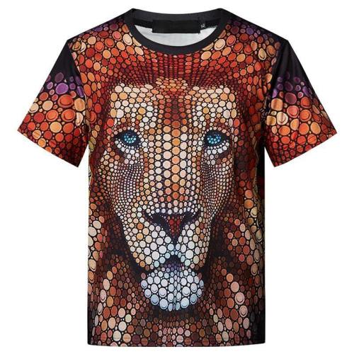 Mens T Shirt Lion Printing Pattern Tee