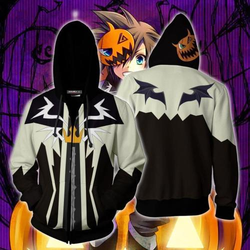 Kingdom Hearts Sora Halloween Town Hoodie Cosplay Jacket Zip Up