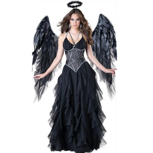 Halloween Sexy Angel Witch Black Dress Costume