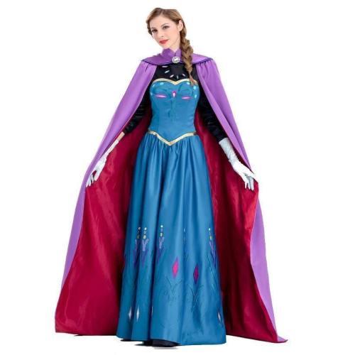 Frozen Princess Anna Dress Costumes Halloween Cosplay Suit