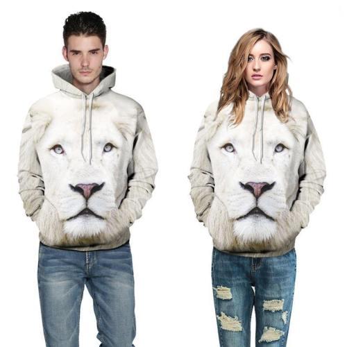3D Print Hoodie - Realistic Lion Pattern Pullover Hoodie  Css030