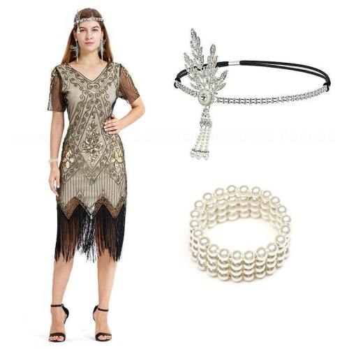 S Flapper Great Gatsby Dress Roaring 20S Costume Fringe Sequin Beaded Dress And Embellished Art Deco Dress Accessories