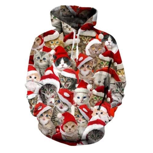Mens Hoodies 3D Printing Santa Cat Printed Pattern Hooded