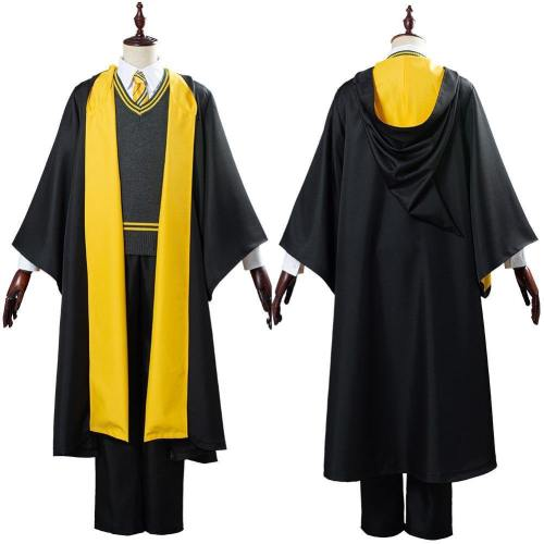 Harry Potter School Uniform Hufflepuff Robe Cloak Outfit Halloween Carnival Costume Cosplay Costume