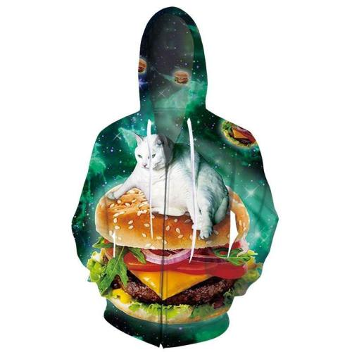Mens Zip Up Hoodies 3D Printed Fat Cat And Pizza Printing Hooded