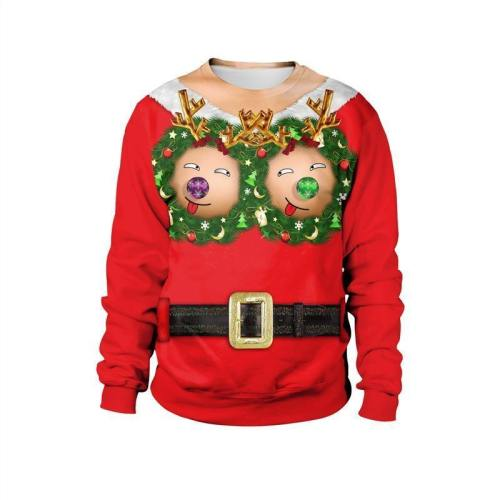 Womens Red Pullover Sweatshirt 3D Graphic Printing Merry Christmas Funny Pattern