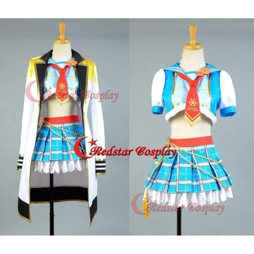 Love Live!Hoshizora Rin Cosplay Costume School Idol Tomodachi Cosplay Navy Sailor Suit Cape