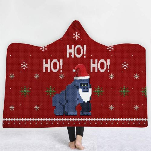 Harambe Christmas  Ho! Ho! Ho!  Hooded Blanket