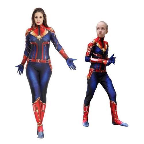 Kids Adult Captain Marvel Costume Cosplay 3D Zentai Suit Jumpsuit