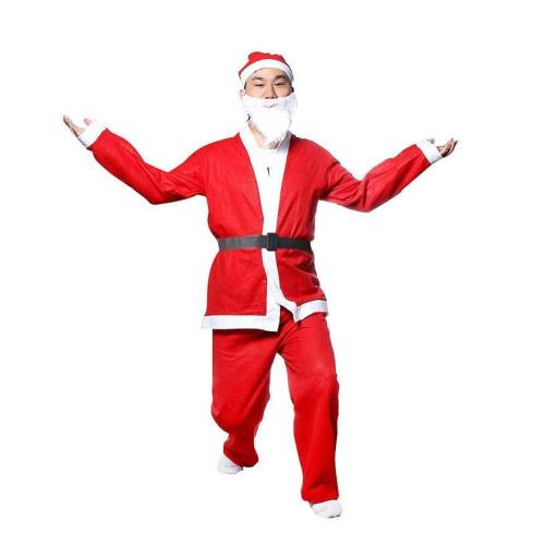 5 Piece Christmas Santa Claus Costume Adult Set With Belt Beard Hat Pants Novelty Costume Clothes Suit Cosplay Christmas Sets