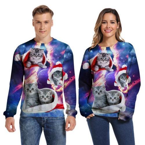 Mens Pullover Sweatshirt 3D Printed Merry Christmas Four Cat Long Sleeve Shirts
