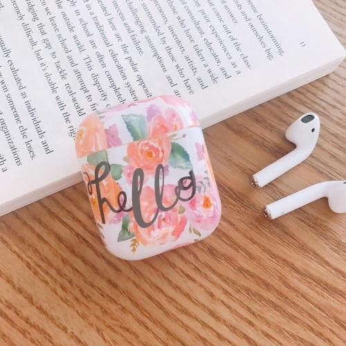 Rosy Hello Watercolor Flowers Apple Airpods Protective Case Cover
