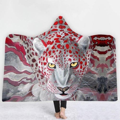 Brave Leopard In White Hooded Blanket