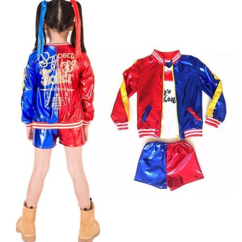 Girls Suicide Squad Harley Quinn Coat Shorts Top Cosplay Costume Set