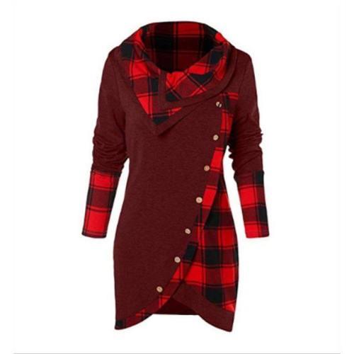 Women Tartan Tunic Sweatshirt Female Pullover Tops