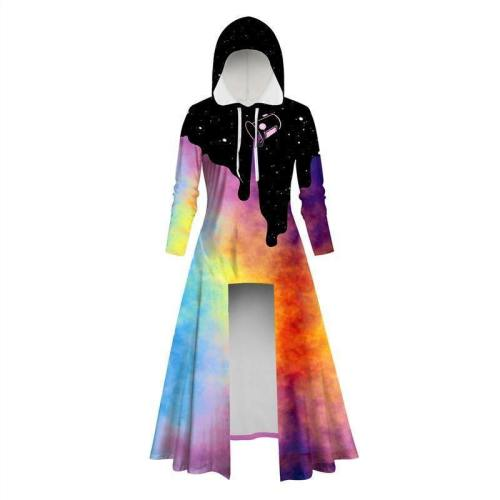 Womens Long Hoodies 3D Graphic Printed Colorful Pullover Sweater Dress