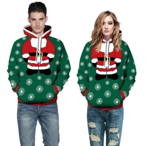 3D Print Hoodie - Christmas Santa Print Pullover Hoodie