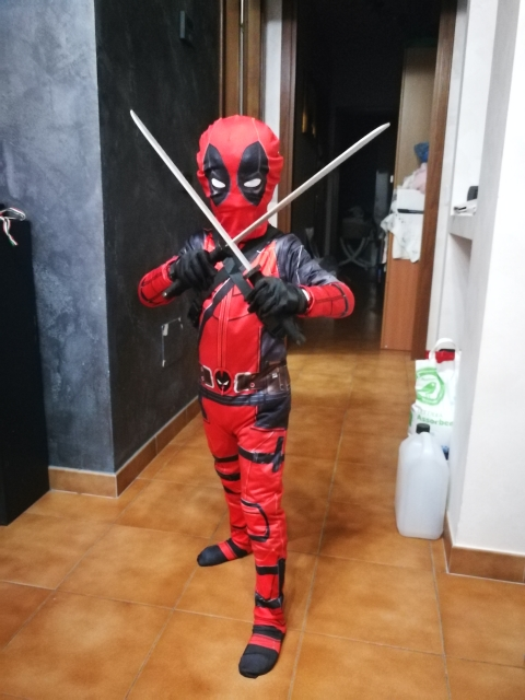 Deadpool Costume For Kids Boys Halloween Cosplay With Swords Gloves
